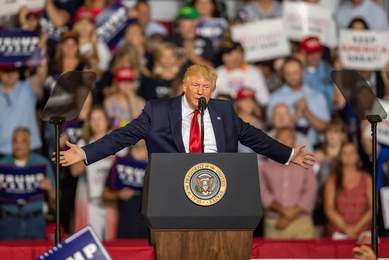 President Donald Trump speaks during a campaign rally Wednesday at East Carolina University in Greenville, N.C.