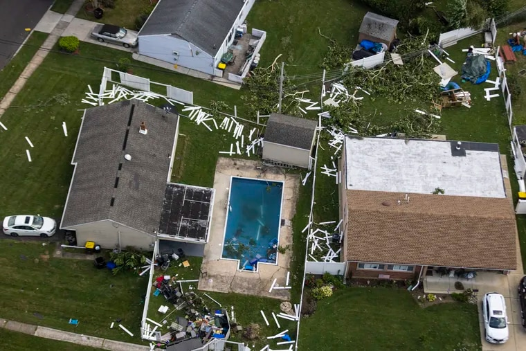Storm damage after the tornado hit Trevose on Thursday. It was an EF3 with peak winds of 140 mph.