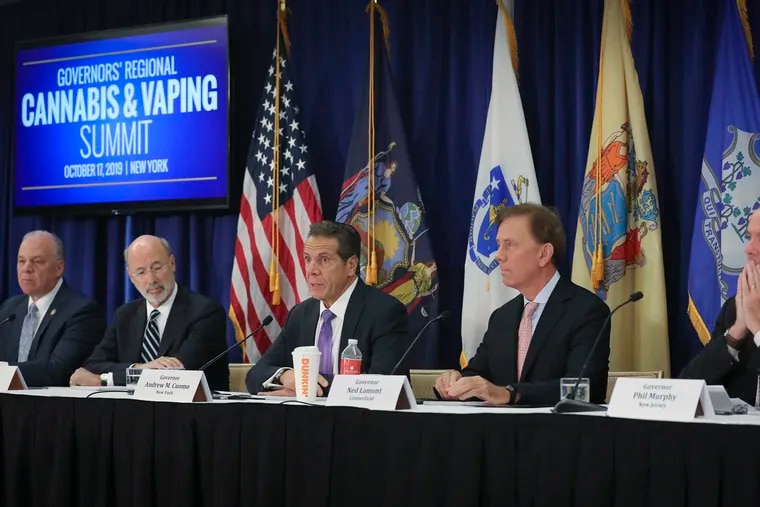 N.J.  State Senate President Steve Sweeney (from left), Pa. Gov. Tom Wolf, N.Y Gov. Andrew Cuomo, Conn. Gov. Ned Lamont, and N.J. Gov. Phil Murphy  participated in a regional summit on public health issues around cannabis and vaping, Thursday Oct. 17, 2019, in New York. (AP Photo/Bebeto Matthews)