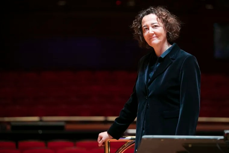 Nathalie Stutzmann, the Philadelphia Orchestra's principal guest conductor, in Verizon Hall at the Kimmel Center.