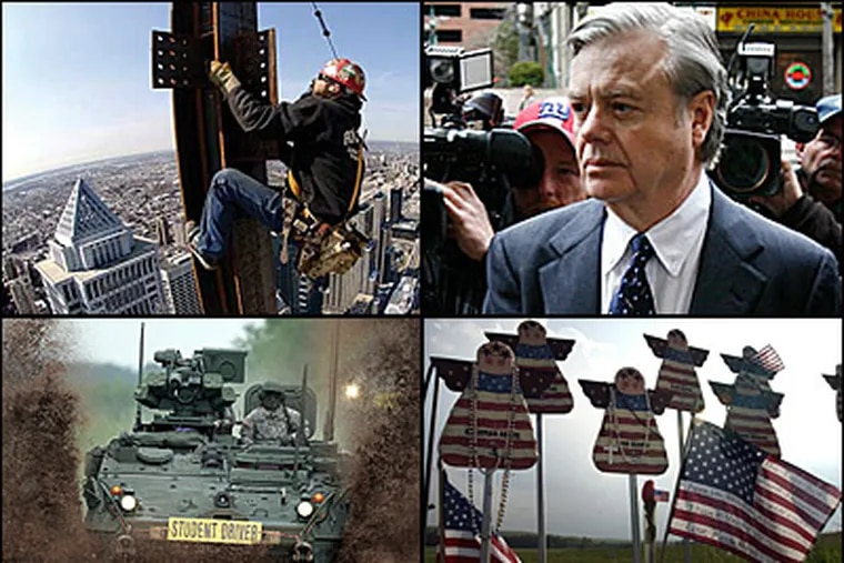 The top stories of the decade for the Philadelphia region include: the city's building boom (clockwise from top left); the conviction of state Sen. Vincent J. Fumo; the crash of United Flight 93 near Shanksville, Pa.; and the deployment of Pa. and N.J. National Guard units. (File photos)