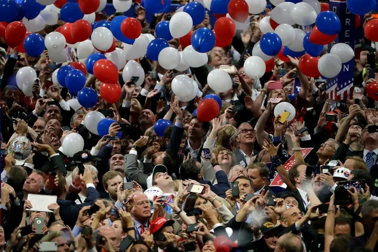 Confetti and balloons fall during celebrations after Republican presidential candidate Donald Trump's acceptance speech on the final day of the Republican National Convention in Cleveland. President Donald Trump demanded the 2020 convention be moved from Charlotte, North Carolina to Jacksonville, Florida in order to allow for crowds to gather despite the pandemic. But now Florida coronavirus cases are rising.
