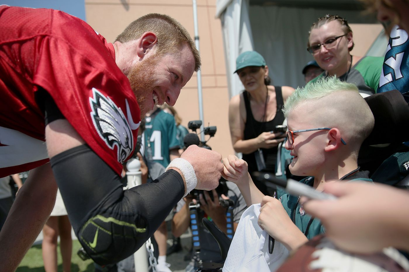 'It was magic': Eagles fan who's had 12 operations meets his hero, Carson Wentz, at training camp