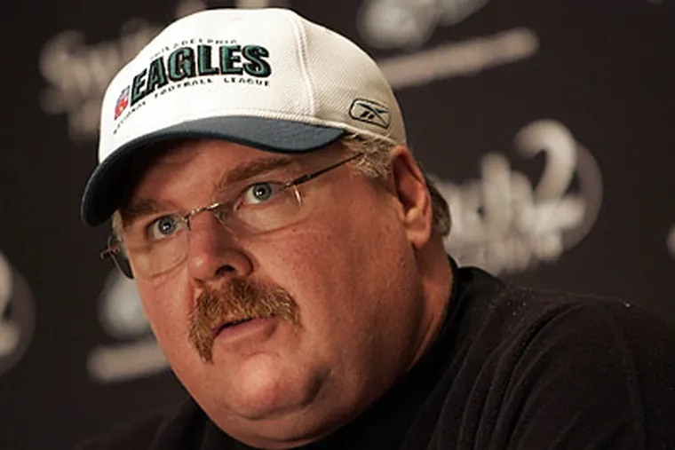 """We probably could have run it a couple of more times, yeah,"""" Eagles coach Andy Reid said Monday about his game plan against the Redskins. (Michael Perez / Staff file photo)"""