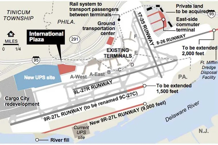 As part of a multi-year expansion of Philadelphia International Airport, the City of Philadelphia would like to buy International Plaza, a 27-acre property located on the airport's west side. Information provided by the Federal Aviation Administration.