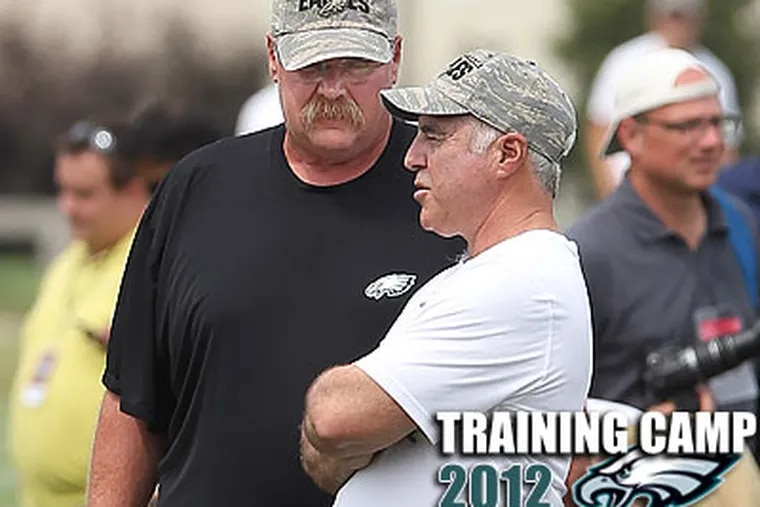 Eagles owner Jeff Lurie chats with Andy Reid at training camp. (Michael Bryant/Staff Photographer)