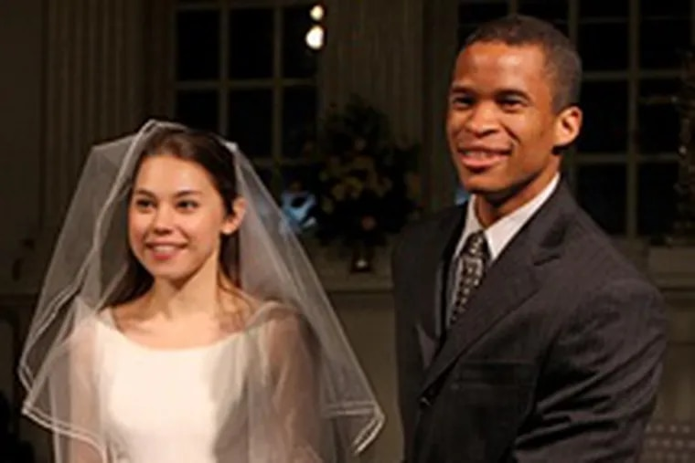 Rebecca Blumhagen as Emily, Peterson Townsend as George. They marry at the altar of Christ Church.