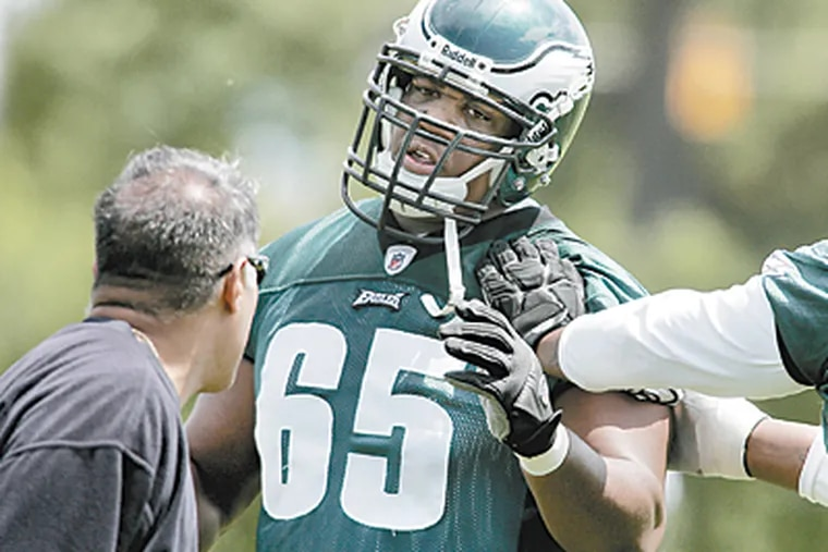 Eagles draft pick King David Dunlap V, 6-foot-8 1/4 and 311 pounds, is trying to prove the doubters wrong. (Mike Levin/Inquirer)