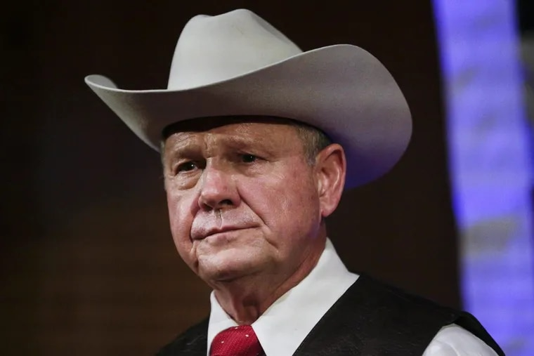Former Alabama Chief Justice and U.S. Senate candidate Roy Moore speaks at a rally in September. He's had no campaign events for several days.