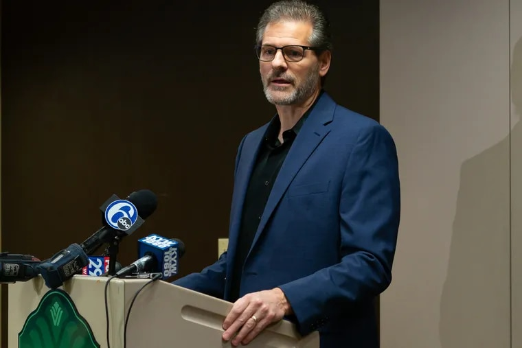 Ron Hextall speaking during a press conference in Voorhees in November 2018, not long after the Flyers had fired him as their general manager.