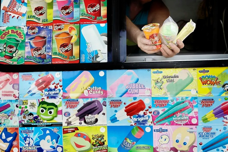 Wesley Tadlo waits for people to buy frozen treats from his ice cream truck at Penn Treaty Park in Phila., Pa. on July 17, 2019.