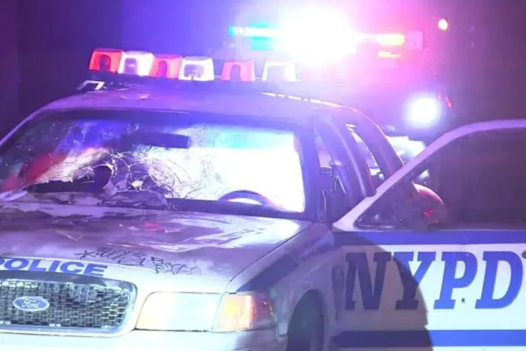 Early on Thanksgiving morning, Philadelphia Police spotted a marked NYPD squad car on I-76 that was riddled with bullet holes and had a busted back window. They soon learned it was a prop car used in the filming of a movie.