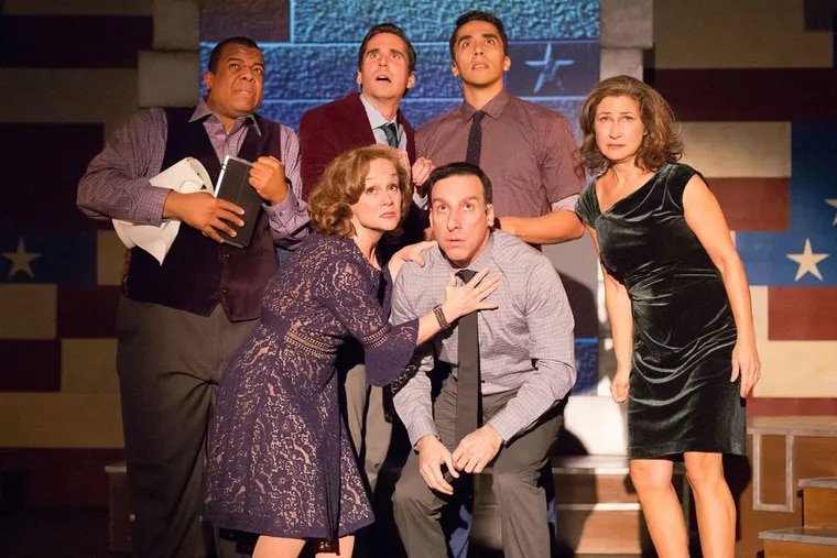 """(Left to right:) Rob Tucker, Jennifer Childs, Sean Close, Dave Jadico, Jenson Titus Lavallee, and Susan Riley Stevens in 1812 Productions' """"This Is the Week That Is,"""" through Dec. 31."""