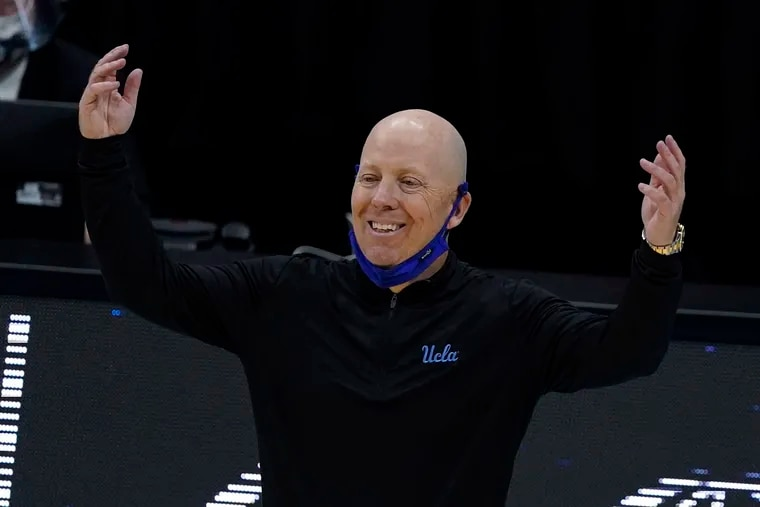 UCLA head coach Mick Cronin reacts to a call during the first half of a men's Final Four NCAA college basketball tournament semifinal game against Gonzaga in April at Lucas Oil Stadium in Indianapolis.