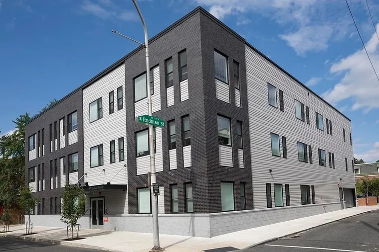 The Bradford apartment building at the former Society Hill Playhouse site at 507 S. Eighth St.