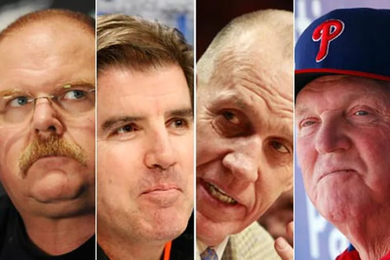 [From left to right] Andy Reid, Peter Laviolette, Doug Collins and Charlie Manuel coach Philly's four major sports teams. (Staff Photos)