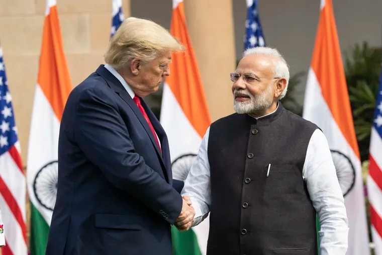 President Donald Trump and Indian Prime Minister Narendra Modi shake hands before their meeting at Hyderabad House, Tuesday, Feb. 25, 2020, in New Delhi.