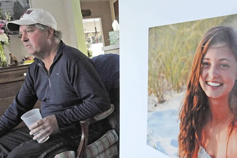 At home in Bergen County, N.J. , Jimmy Holleran with a photo of daughter Madison, a Penn freshman who committed suicide.