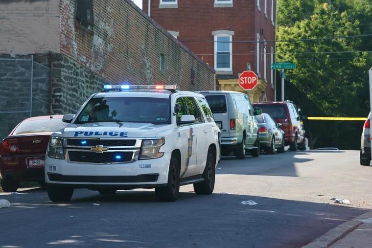 A police car is seen near an accident scene in Philadelphia in June.