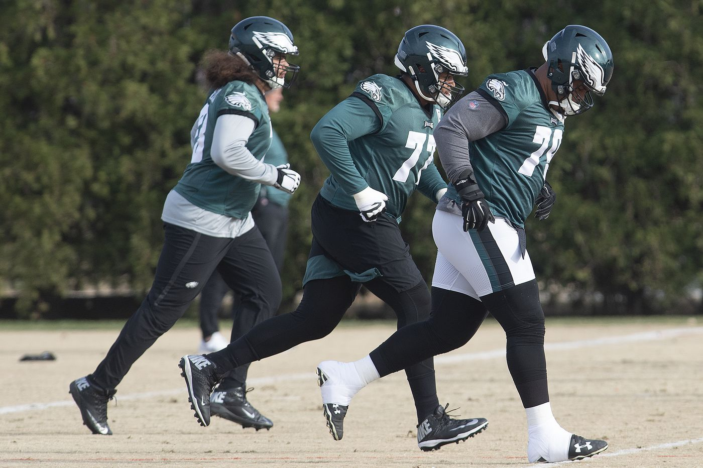 Eagles Andre Dillard trying to get it right on the other side of the offensive line