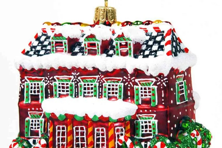 The exquisitely detailed Gingerbread Farm House Ornament ($68), mouthblown and handpainted by artisans in Eastern Europe, is a delicious catalyst for daydreams. Available at Home Grown, 393 Lancaster Ave., Haverford.