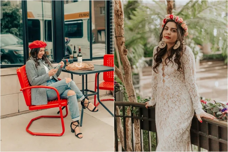 Philadelphia-based influencer Katerina Seigel partners with brands to promote products on her popular blog and social accounts. On the right, she's modeling a dress from BHLDN, URBN's bridal retailer.