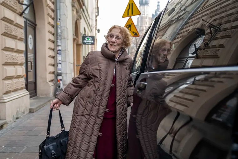 After taking a charter flight form Newark, New Jersey to Krakow, Poland, Holocaust survivor, 91-year-old Anneliese Nossbaum, arrives at the Hotel Stary in the Old City on January 26, 2020. She traveled to Poland for the 75th anniversary of the liberation of Auschwitz. (Lauren Schneiderman/The Philadelphia Inquirer/TNS)