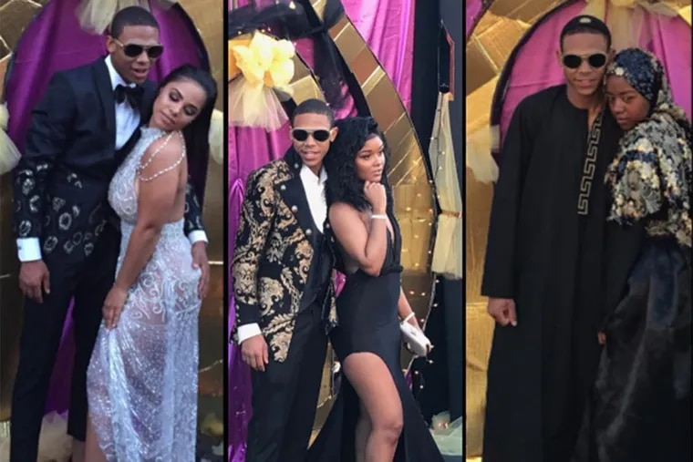 """Instead of one beautiful prom date, Johnny """"JJ"""" Eden, Jr. had three – each wearing an elaborate, custom-made gown. Not to be outdone, he also had outfit changes throughout the event coordinated by fashion stylist Cheyenne Smith, including one that was an elaborate black robe with gold Versace trim."""