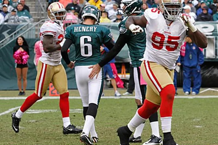 Eagles kicker Alex Henery missed two field goals against the 49ers on Sunday. (Charles Fox/Staff Photographer)