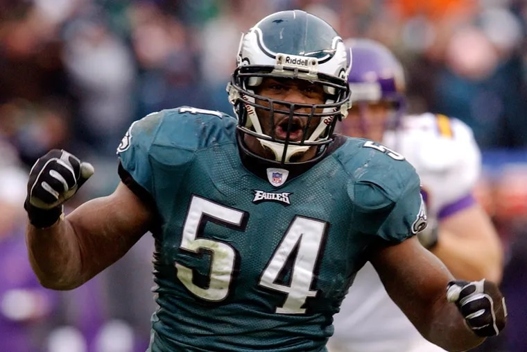 Philadelphia Eagles linebacker Jeremiah Trotter reacts during the NFC divisional playoff game against the Minnesota Vikings in Philadelphia, in this Jan. 16, 2005 photo.