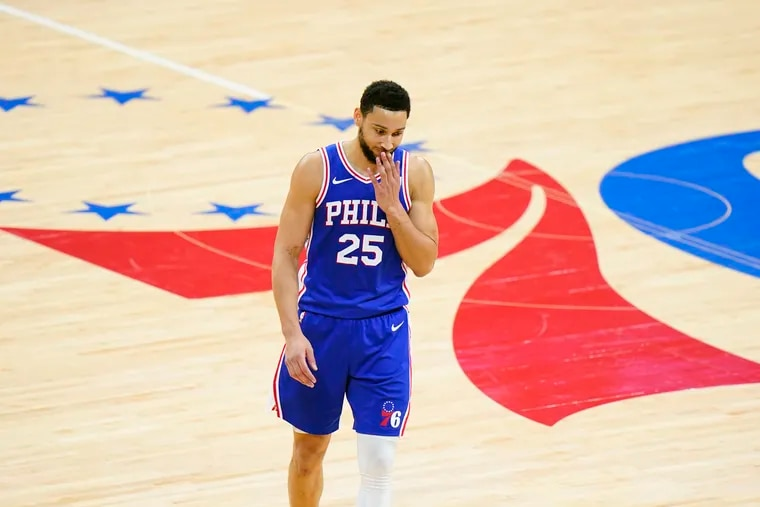 Ben Simmons wipes his face during Game 5 of a second-round playoff series against the Atlanta Hawks in June.