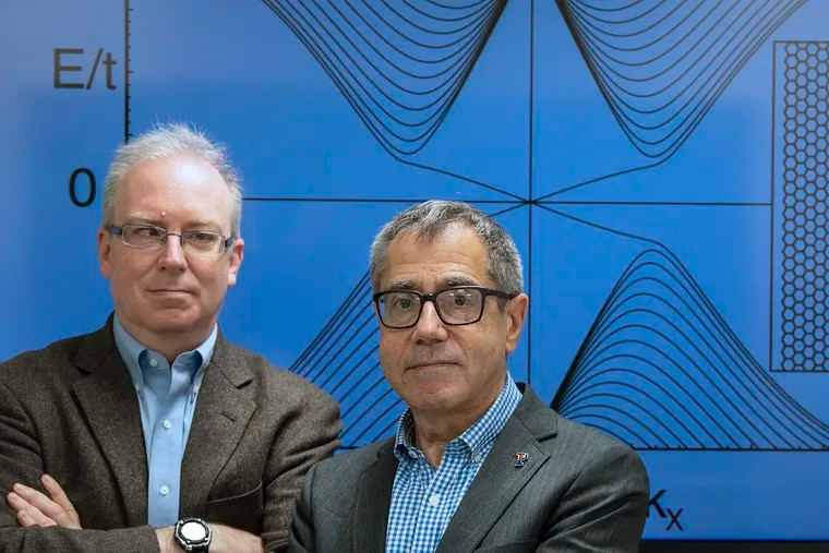 Penn physicists Charles Kane, left, and Eugene Mele won a $3 million Breakthrough Prize for their work on materials called topological insulators.