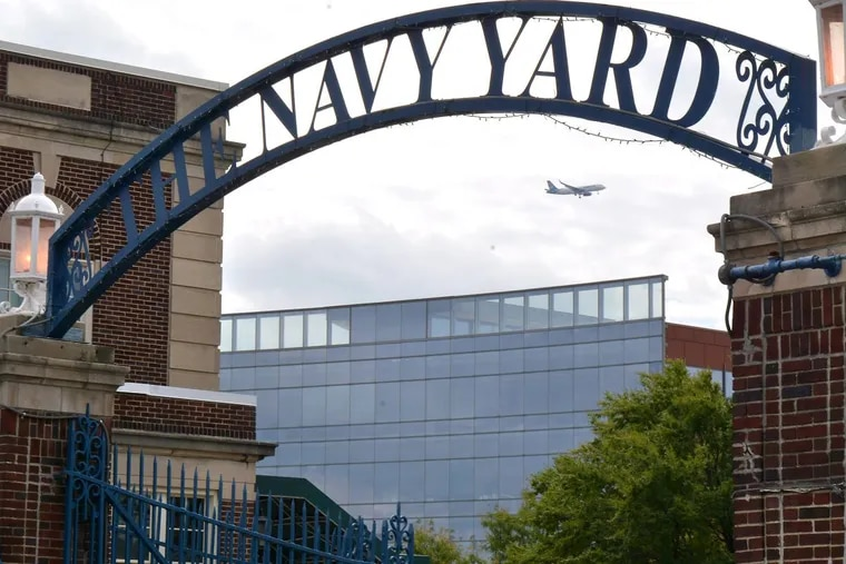 The entrance of the Navy Yard corporate center along Broad Street .