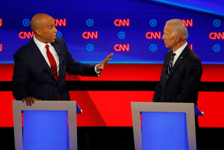 Sen. Cory Booker (D., N.J.) gestures to former Vice President Joe Biden during the second of two Democratic presidential primary debates July 31 in the Fox Theatre in Detroit.