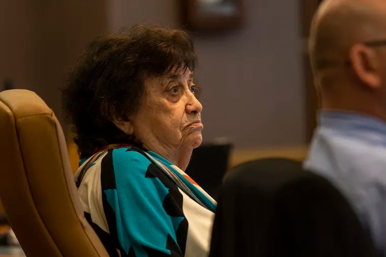 """PSERS board member Melva S. Vogler, 87, shown during a recent board meeting, is the longest serving member currently on the panel.   A longtime leader within the main union for Pennsylvania teachers, Vogler has been a staunch backer of the pension fund's executives.  """"I have no complaints,"""" she says."""