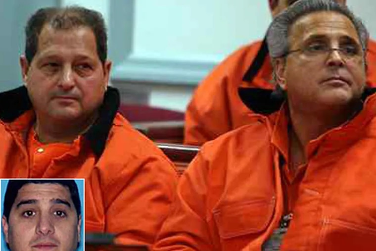 At a bail hearing in December 2007 are reputed Lucchese crime family members Ralph V. Perna (left) and Martin Taccetta. Perna is the father of Joseph Perna (inset). (BOB KARP / Associated Press, Pool)