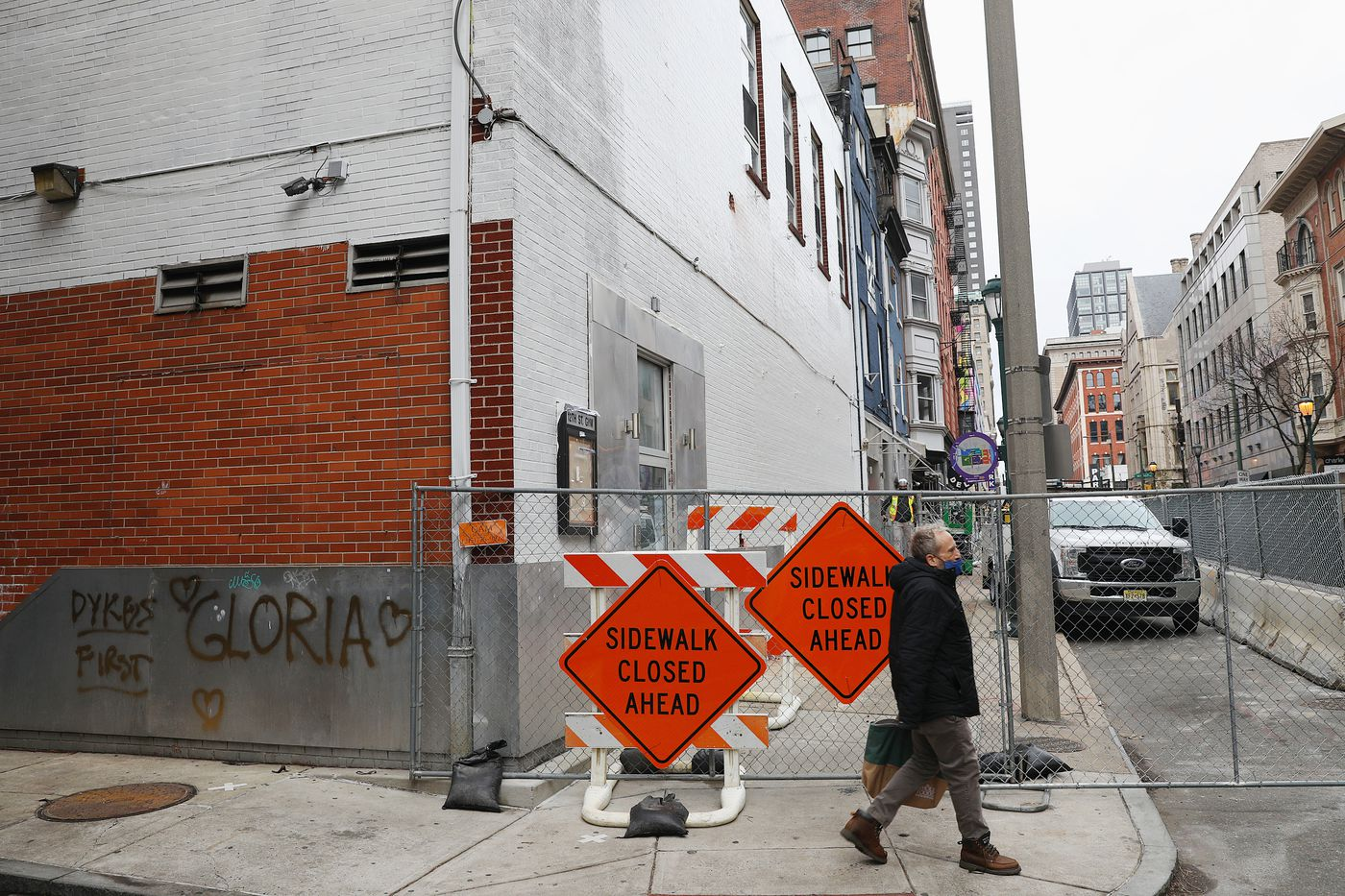 The wall of the former 12th Street Gym, which held a mural of Latina LGBTQ activist Gloria Casarez, is pictured in Center City Philadelphia on Thursday, Dec. 24, 2020. The mural was painted over without notice as part of a developer's plan to raze the building.