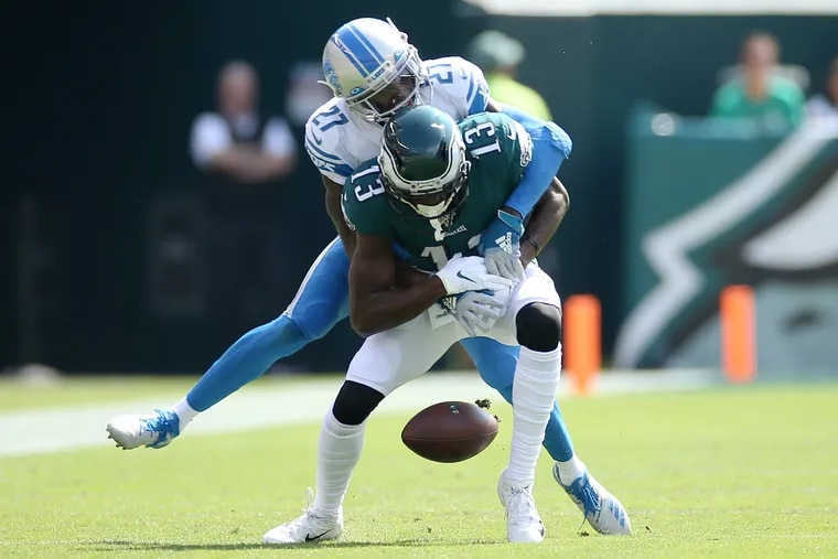 Detroit Lions cornerback Justin Coleman (27) breaks up a pass intended for Eagles wide receiver Nelson Agholor (13) in the second quarter of a game at Lincoln Financial Field in South Philadelphia on Sunday, Sept. 22, 2019.