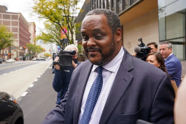 Carlton Williams, the former head of Philadelphia's Department of Licenses and Inspections and current commissioner for the city's Streets Department, speaks to reporters outside the federal courthouse in Philadelphia after his testimony Tuesday in the bribery trial of labor leader John Dougherty and City Councilmember Bobby Henon.