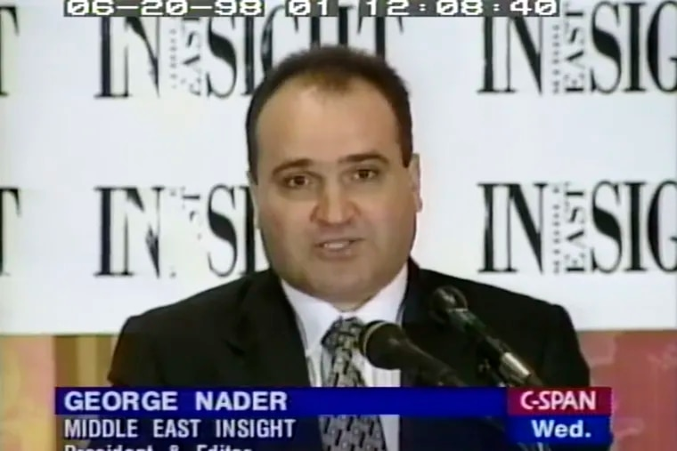 This 1998 frame from video provided by C-SPAN shows George Nader, president and editor of Middle East Insight.