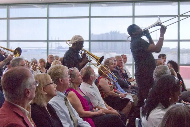 The New Sounds Brass Band performed at a tribute to Tony Auth held at the Independence Seaport Museum in Philadelphia, Sept. 28, 2014. Mummer Daniel Gold cofounded the band to perform in and diversify the Mummers Parade.