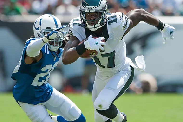 Eagles wide receiver Nelson Agholor beats Colts cornerback Greg Toler during to a 34-yard first quarter touchdown.