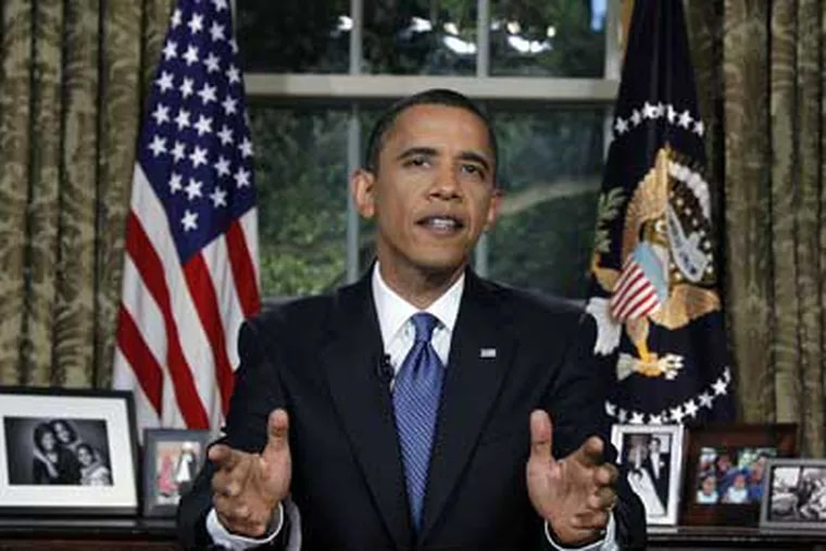President Barack Obama delivers a televised address from the Oval Office of the White House in Washington, Tuesday June 15, 2010. (AP Photo/Alex Brandon)