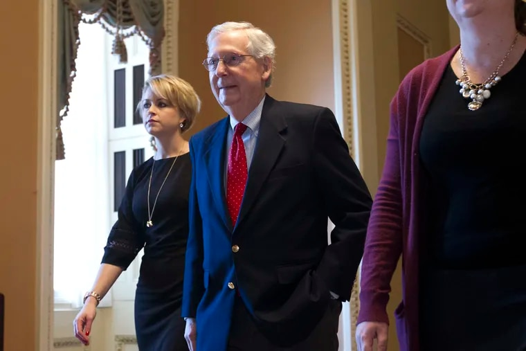 Senate Majority Leader Mitch McConnell (R., Ky.) returns to the Capitol from the White House as work to avoid a partial government shutdown continues with President Trump demanding funds for a wall along the U.S.-Mexico border, at the Capitol in Washington, Friday, Dec. 21, 2018.