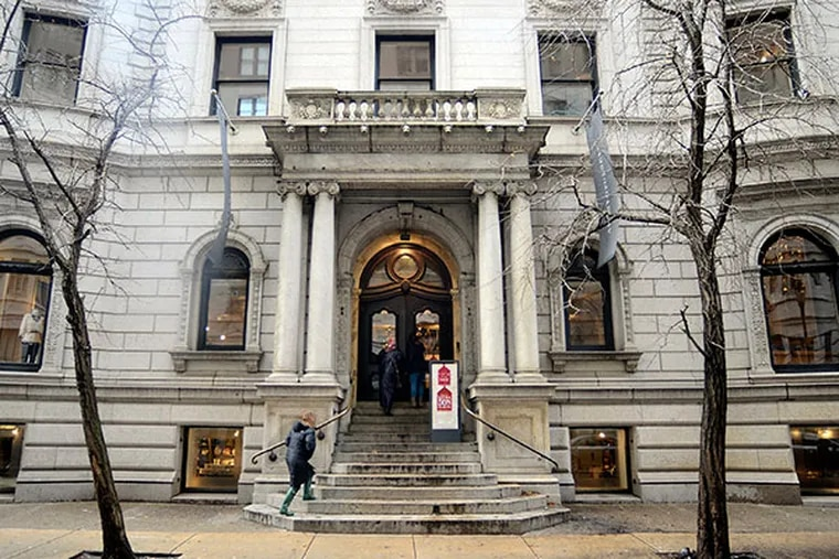 The onetime mansion that now houses retailer Anthropologie, at 18th and Walnut on Rittenhouse Square - is still on the market January 6, 2014, with an asking price of $40 million. After close to six months a deal may be in the offing for the century-old building at one of the most high-traffic corners in Center City. ( TOM GRALISH / Staff Photographer)