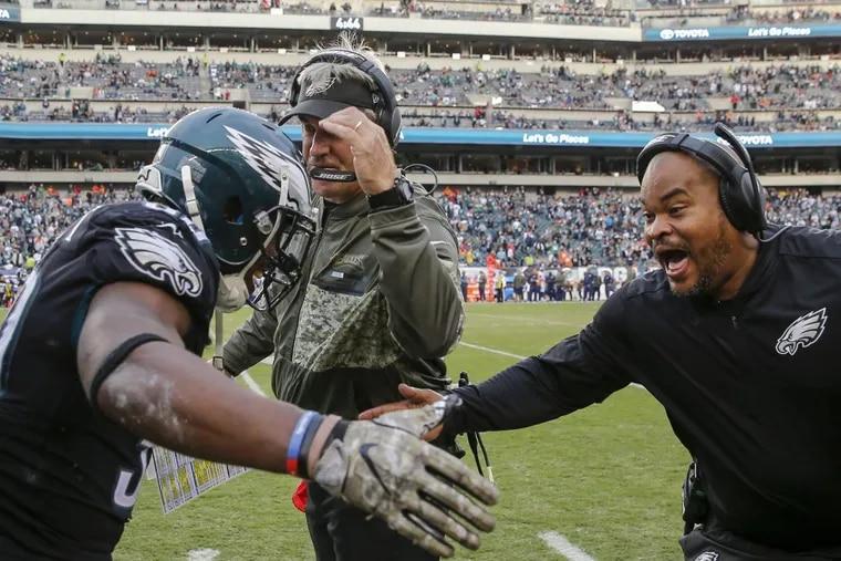 Philadelphia Eagles Head Coach Doug Pederson and running backs coach Duce Staley got to watch their team dominate the Denver Broncos.