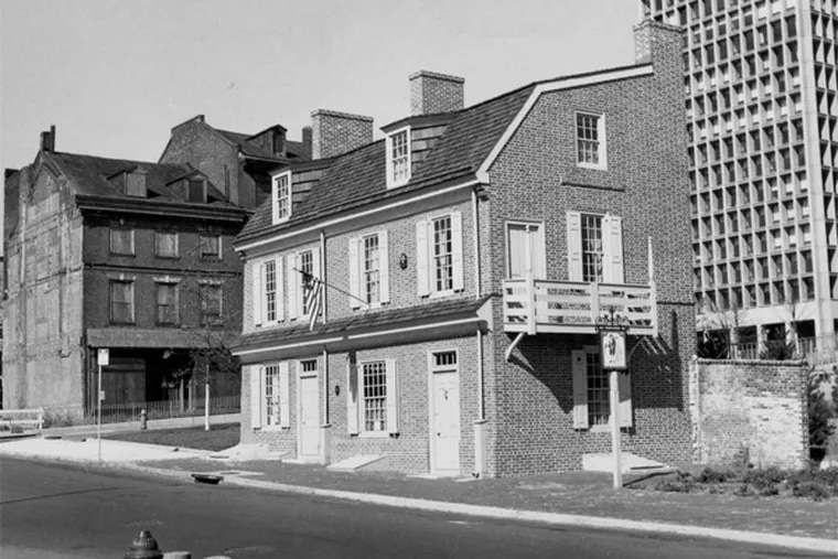 The Man Full of Trouble Tavern, built in 1759, at 127 Spruce St. In its early years it attracted a down-to-earth crowd. It also served as a hotel and a chicken market. In 1994, it became the property of Penn.