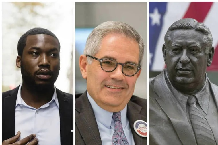 The week that was: Meek Mill (left) sentenced to prison, Democrat Larry Krasner (center) is elected as District Attorney of Philadelphia, and the Frank Rizzo statue (right) is being  moved from its home across the street from City Hall.