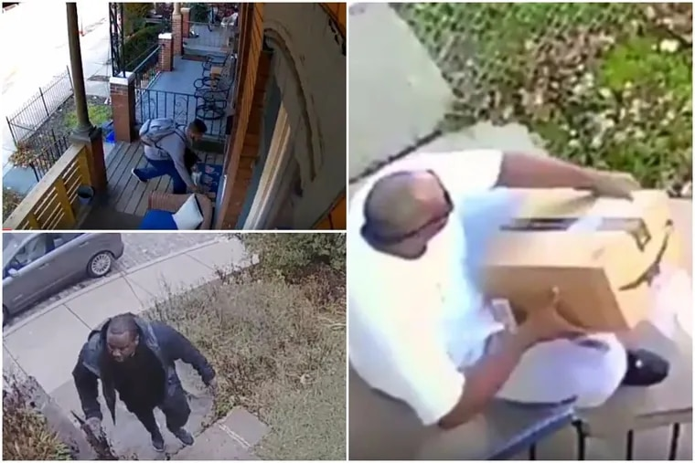 Home surveillance cameras have caught several people in the act of stealing packages this season, including the above, unidentified suspects.