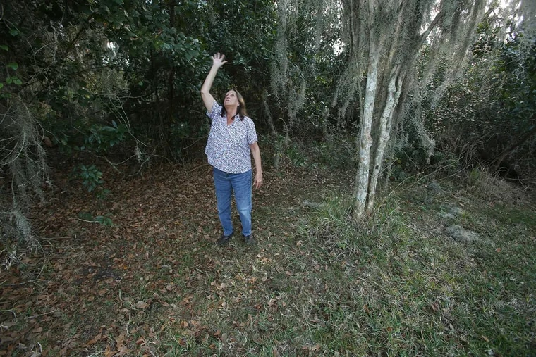 Trish Bishop shows the spot in the backyard of her Kissimmee, Fla., home on February 1, 2019, where she claims to have witnessed an alien and UFO hovering 10 feet above the ground in March 2013. (Rich Pope / Orlando Sentinel / TNS)